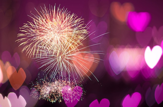 35712446 - multicolor fireworks on heart bokeh background, love concept