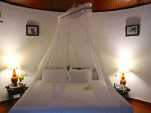 Luxus-Gartenhütte mit geschmackvollen indischen Möbeln und einem eigenen Badezimmer ausgestattet.