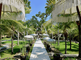 A gorgeous resort on wonderful mystical Bali. The rooms are in small garden huts in a colorful tropical garden.